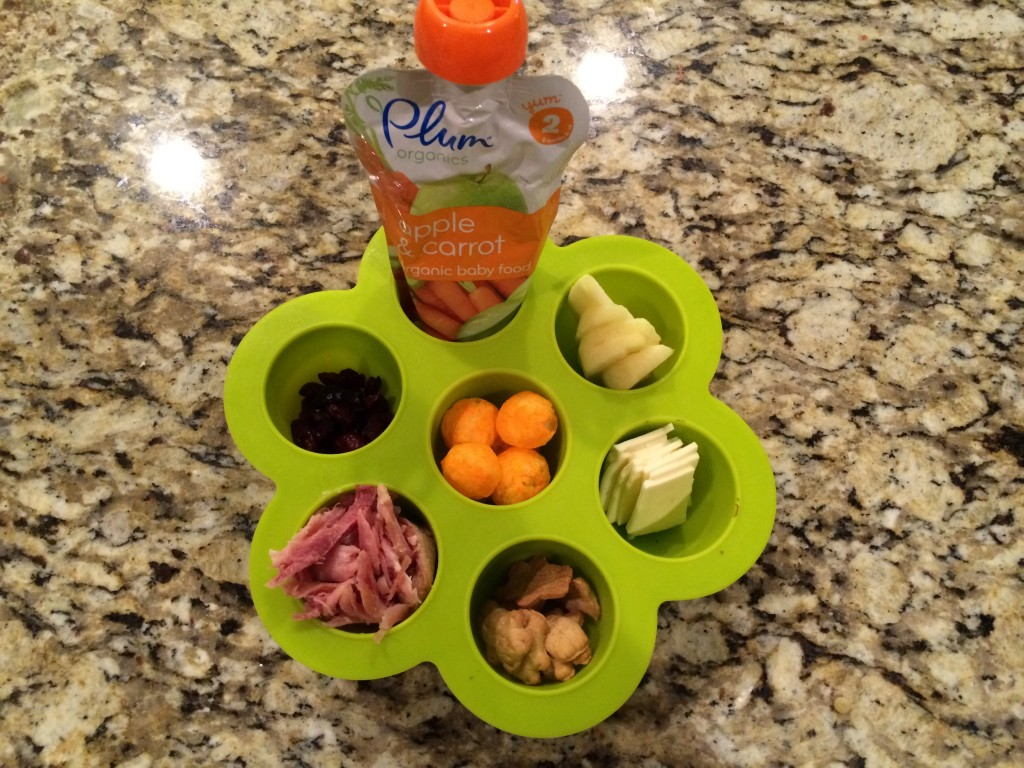 Using baby food storage trays for toddler's lunch