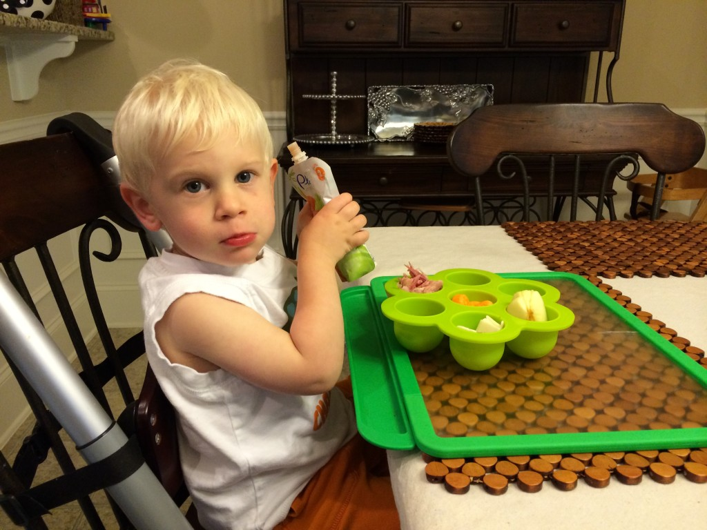 Toddler eating picnic lunch from baby food storage tray