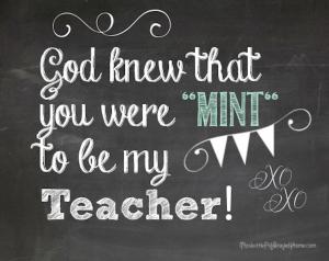 teacher mint chalkboard gift tag