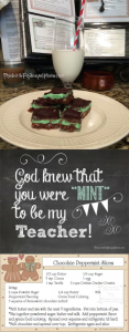 Chocolate Peppermint Slices recipe and tag for teacher gift