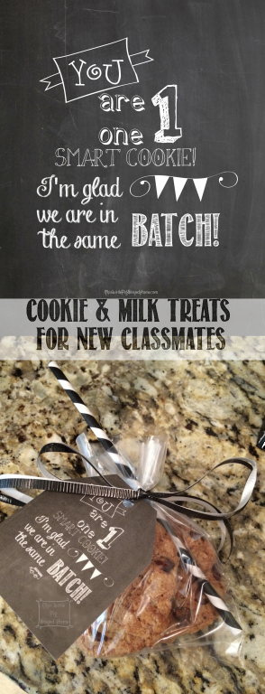Free printable for Cookie and Milk treats for new classmates at school, church, sports, ballet, dance, gymnastics, choir, band, etc.