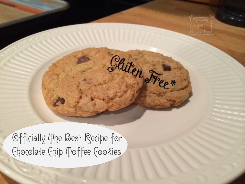 gluten free chocolate chip toffee cookie recipe pin