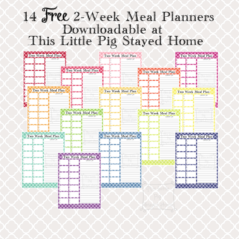 14 FREE 2-Week Meal Planners from thislittlepigstayedhome