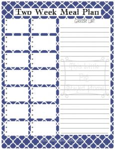2 Week Meal Planner - Navy