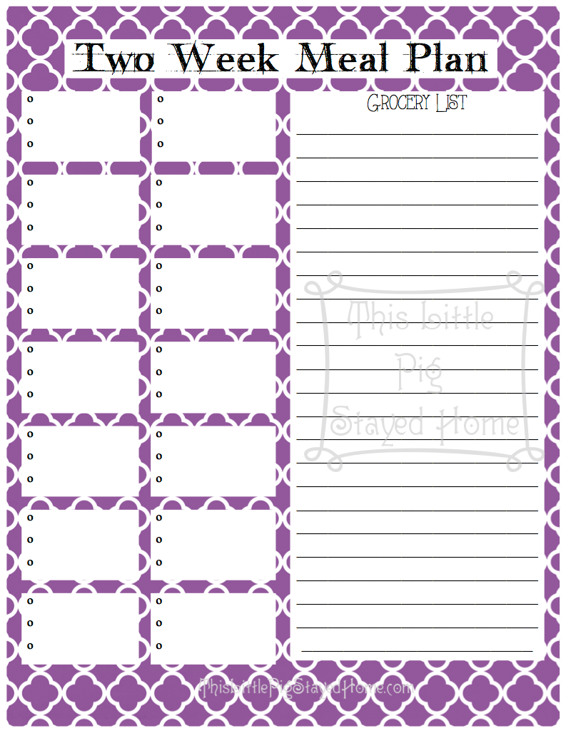 Two week meal planners for Two week meal plan template