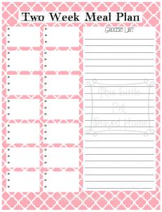 2 Week Meal Planner - Lt. Pink