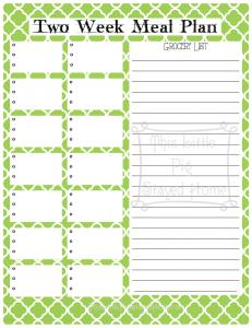 2 Week Meal Planner - Green