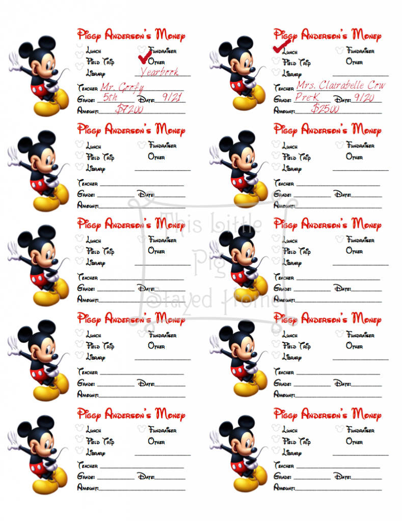 Free Printable, editable, sticky note labels to be used on money envelopes for school