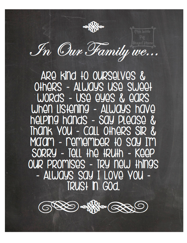 Chalkboard family rules
