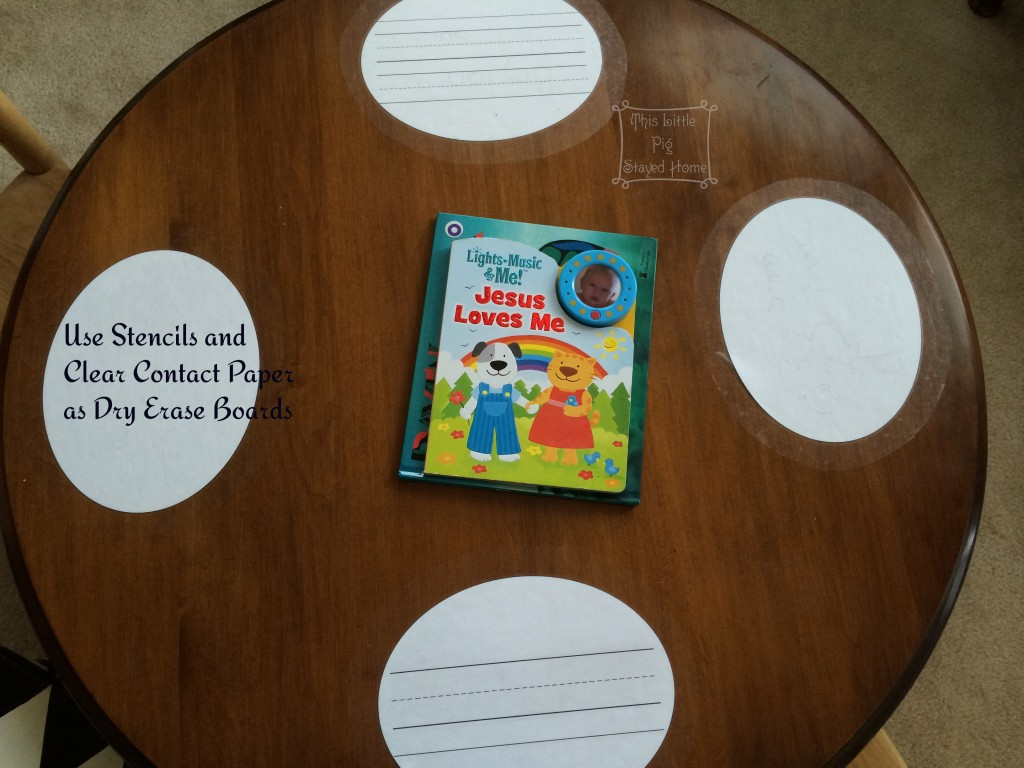Use templates and clear contact paper to create dry erase boards on a table for home school.