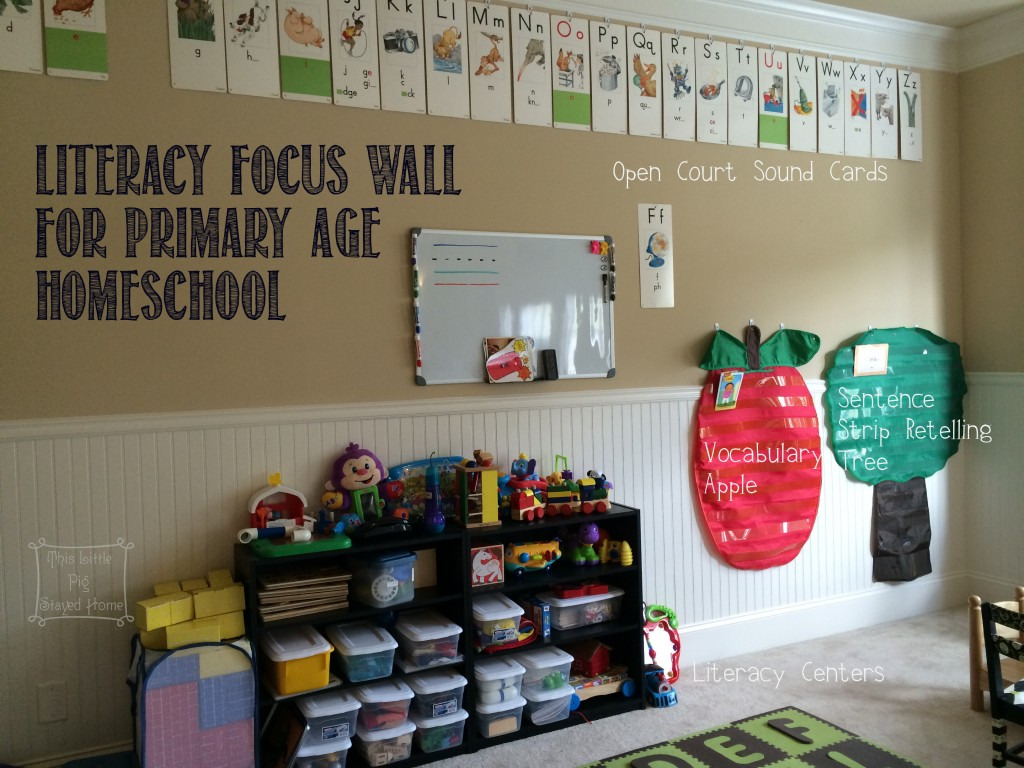 Literacy and phonics focus wall for primary and elementary age children to be used in school or homeschool.  Open Court letter sound cards, literacy centers and magnetic board help.