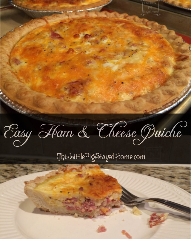 Easy-cheesy Ham and Quiche-y!  Made with leftover ham, two different cheeses.  Great for a small family or freeze for a crowd during the holidays.