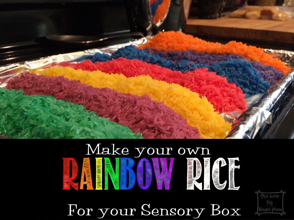 Make your own rainbow rice for your sensory box with an easy, quick recipe found at This Little Pig Stayed Home.com