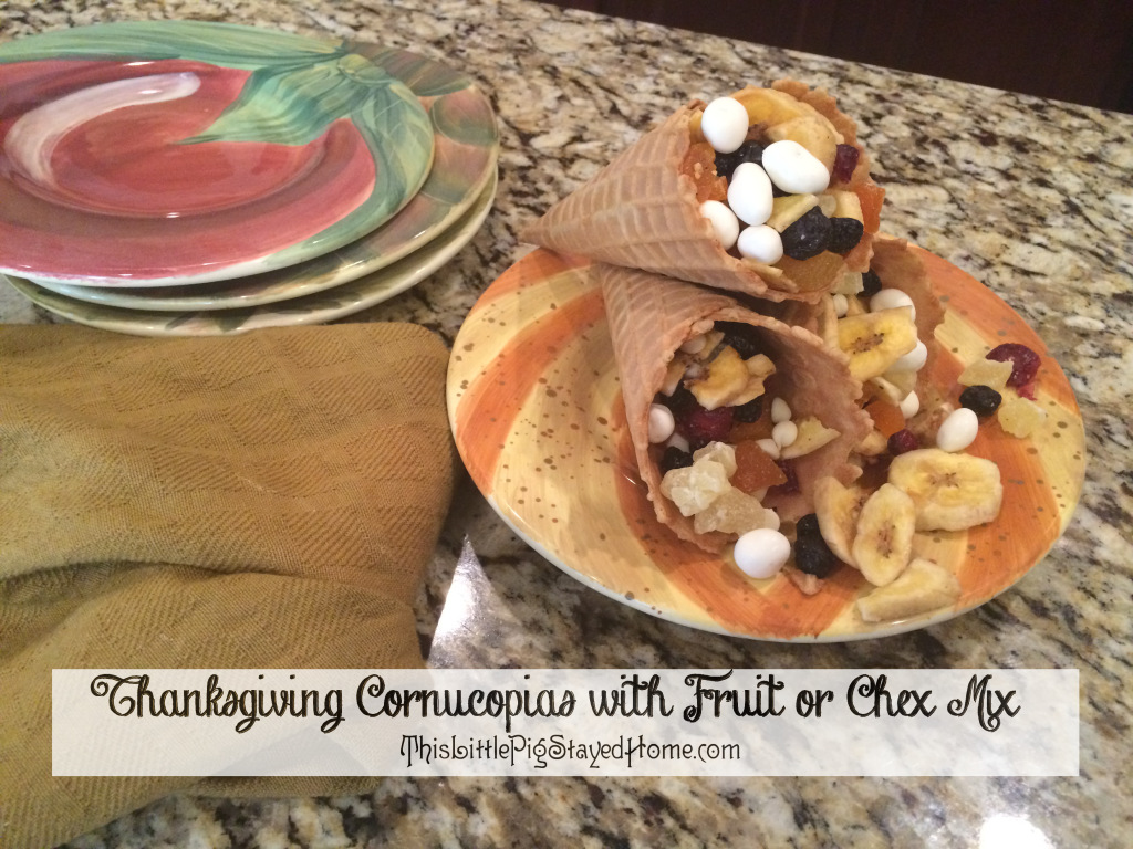 Make Thanksgiving Cornucopia snacks with dried or fresh fruit, or turn it into dessert with chocolate pretzels, chocolate chex, etc.  Found at ThisLittlePigStayedHome.com