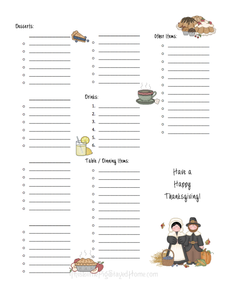 Page 2 of Thanksgiving Dinner Meal Planner and Ingredients list - Free to download at ThisLittlePigStayedHome.com.