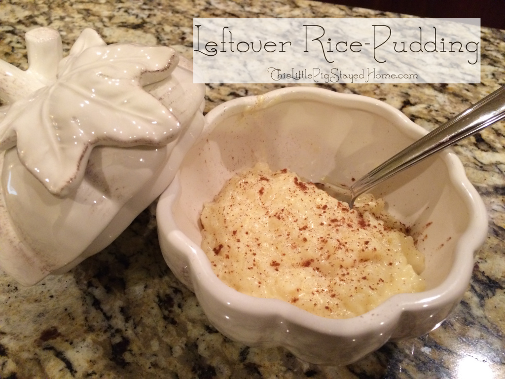 Use leftover rice to make a yummy, creamy, and warm rice pudding.  Recipe tells how to make it regardless of how much rice if left over