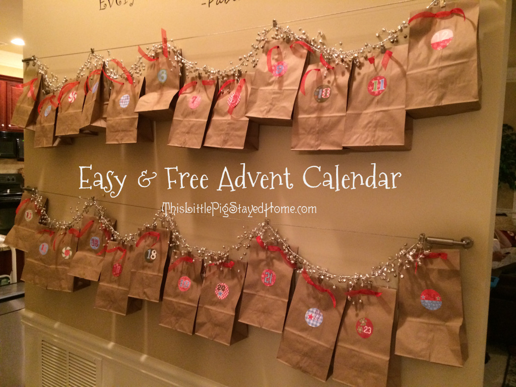 Easy and potentially free paper bag advent calendar.  Instructions and printable locations found at ThisLittlePigStayedHome.com