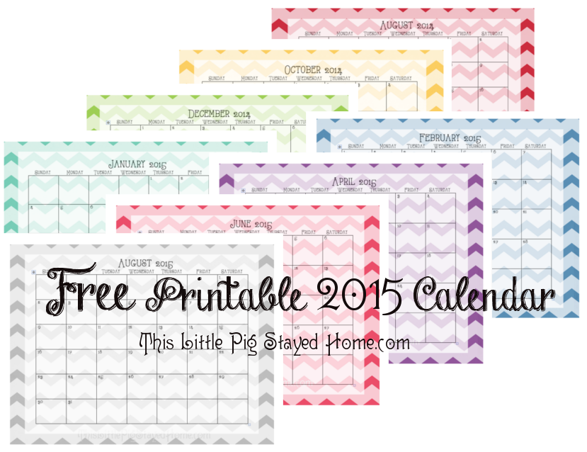 2015 Printable Calendar from ThisLittlePigStayedHome.com